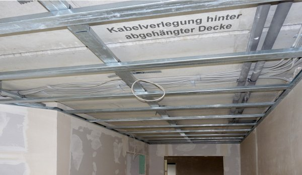 Kabelverlegung unter der Decke